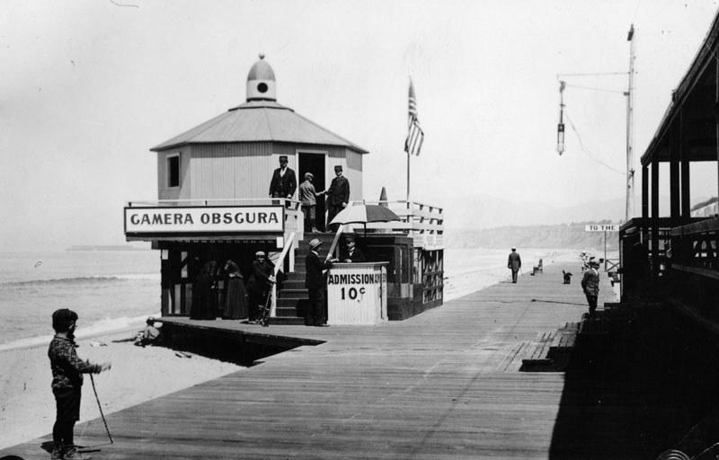 Santa Monica's Camera Obscura in its original location on the boardwalk at the beach.