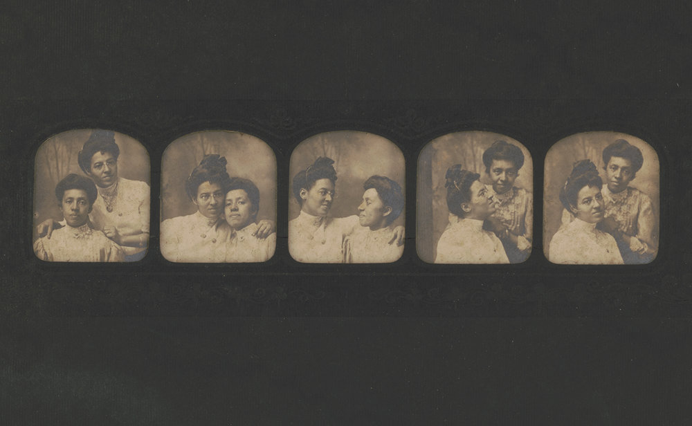 Educator and activist Elizabeth Brooks posing with singer and activist Emma Hackley (in spectacles) in five different portraits (1885) (courtesy William Henry Richards Collection, Library of Congress Prints and Photographs Division)