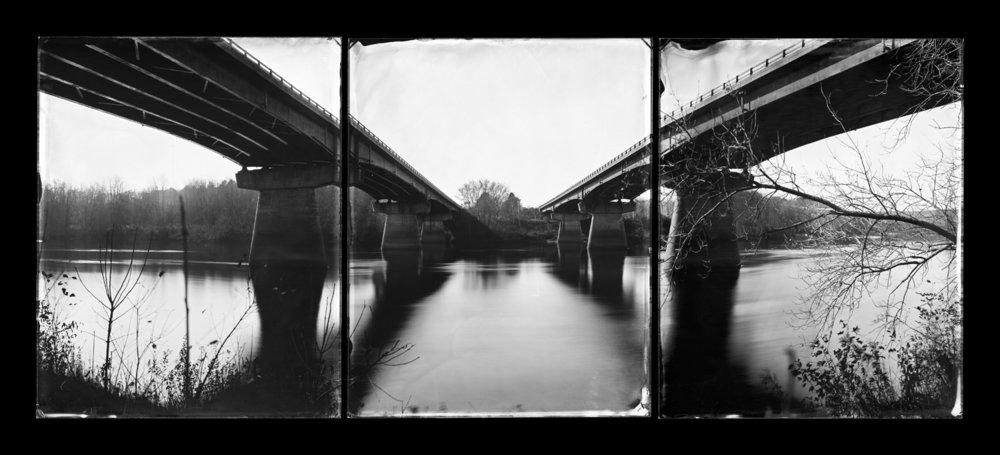 I-295 Bridges, Topsham, Maine (triptych), Androscoggin River, 2011, Michael Kolster