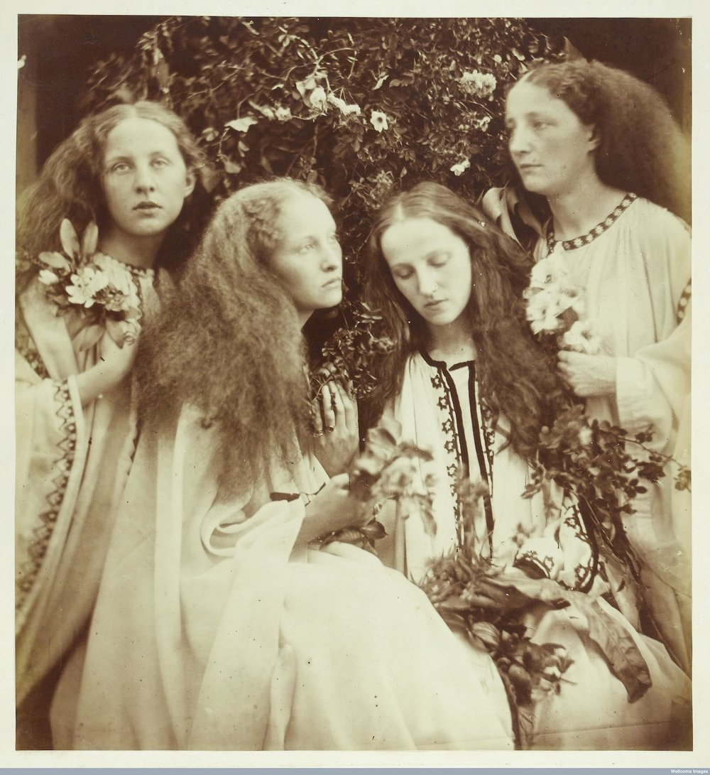 "Julia Margaret Cameron, ""Four young women holding flowers"" (1868) (used under CC BY 4.0 license)"