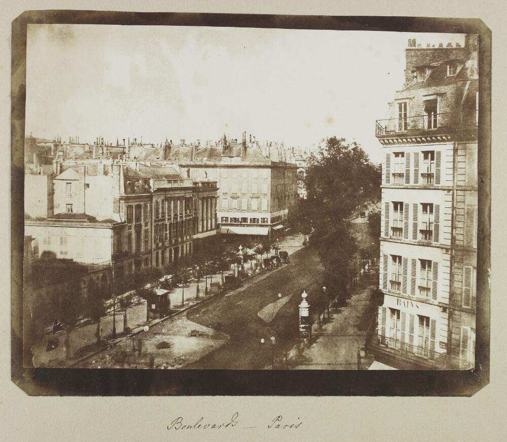 "William Henry Fox Talbot, ""View of the Boulevards at Paris"" from the William Henry Fox Talbot archive at Oxford University."
