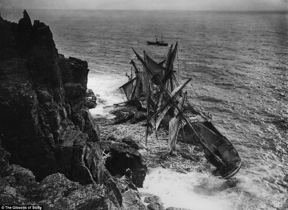 The Hansy, a sailing ship from Norway, wrecked in 1911 on the eastern side of the Lizard in Cornwall. Three men were rescued by lifeboat and all of the rest of the passengers escaped onto the rocks.