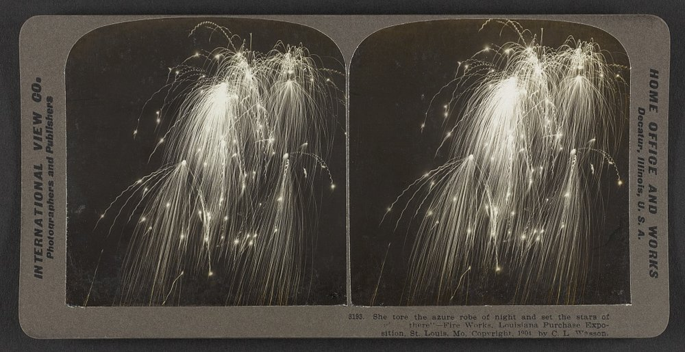 "She tore the azure robe of night and set the stars of ""glory there"" – Fireworks. Louisiana Purchase Exposition. C.L. Wasson, 1904. Courtesy of the Library of Congress."