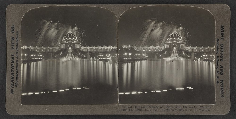 Festival Hall and Terrace of States with fireworks. World's Fair, St. Louis, MO. C.L. Wasson, 1904. Courtesy of the Library of Congress.