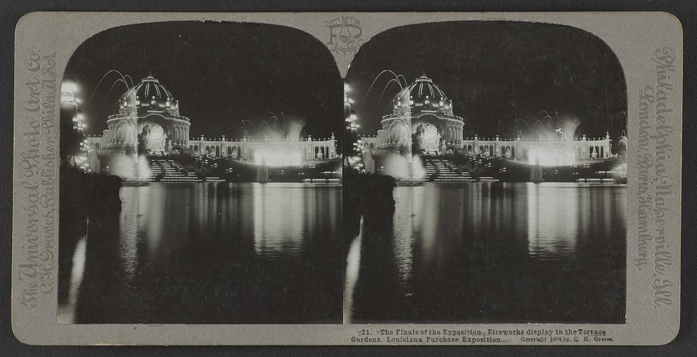 The finale of the exposition. Fireworks display in the terrace gardens. Louisiana Purchase Exposition. C.H. Graves, 1904. Courtesy of the Library of Congress.