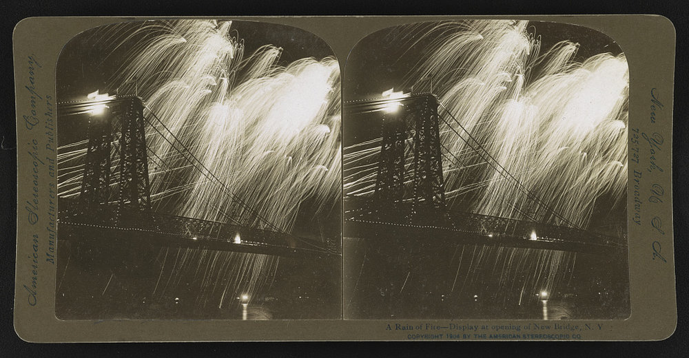 Rain of Fireworks. NYC Bridge. Author unknown, 1904. Courtesy of the Library of Congress.