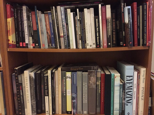 Alyson Belcher's bulging bookcase.