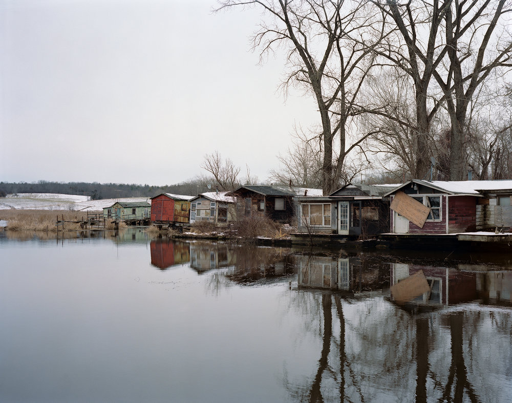 Fugary Fishing Shacks, Hudson, New York, Winter 2016 ,  Tema Stauffer