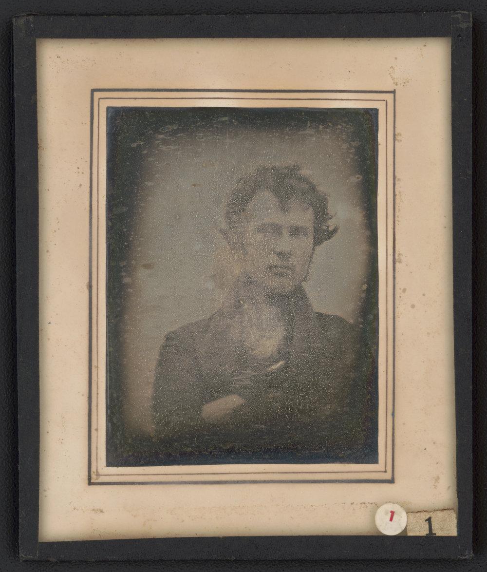 Robert Cornelius,  Self-portrait , 1839. Quarter plate daguerreotype. Library of Congress Prints and Photographs Division Washington, D.C.