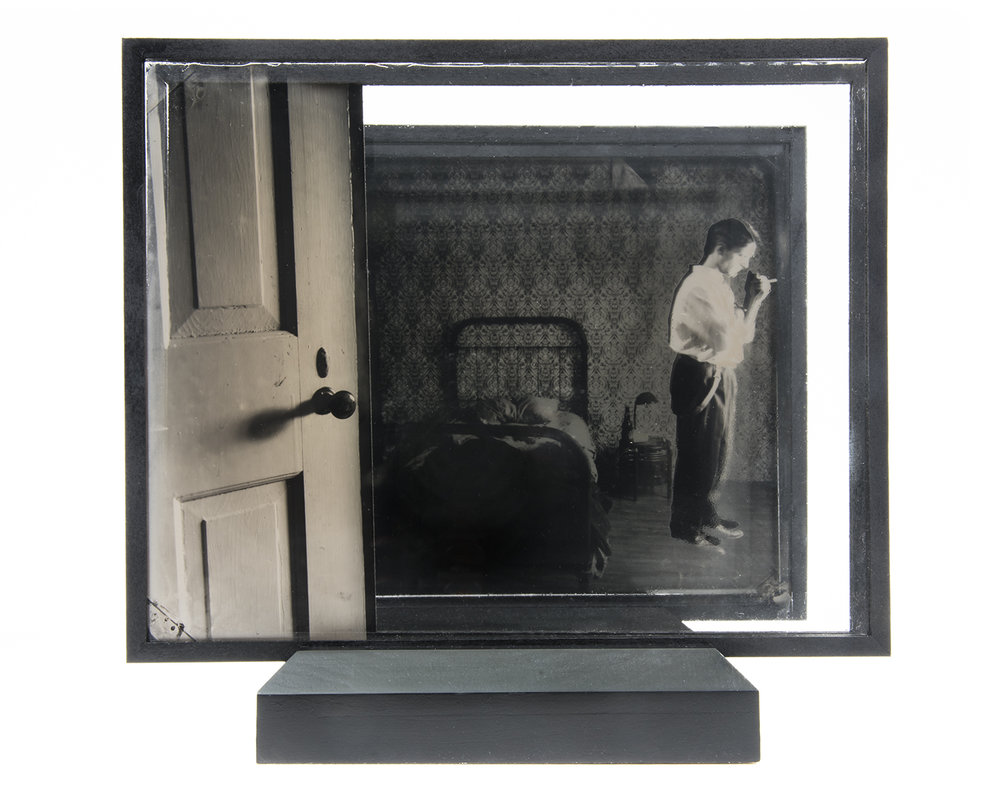 Bedroom , layered ambrotypes, cut vinyl, glass, artist-made frame