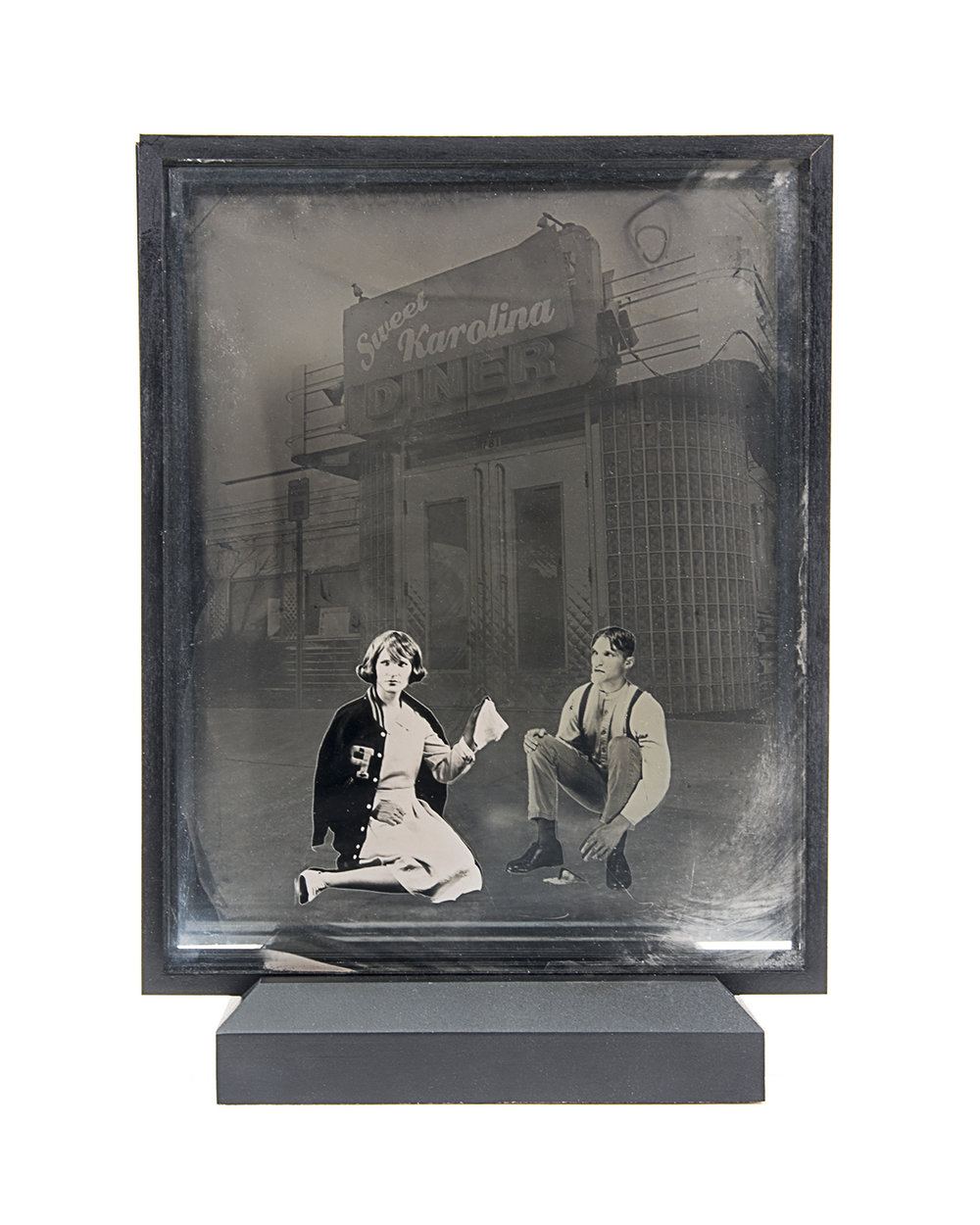 Diner 15 , layered ambrotypes, cut vinyl, glass, artist-made frame