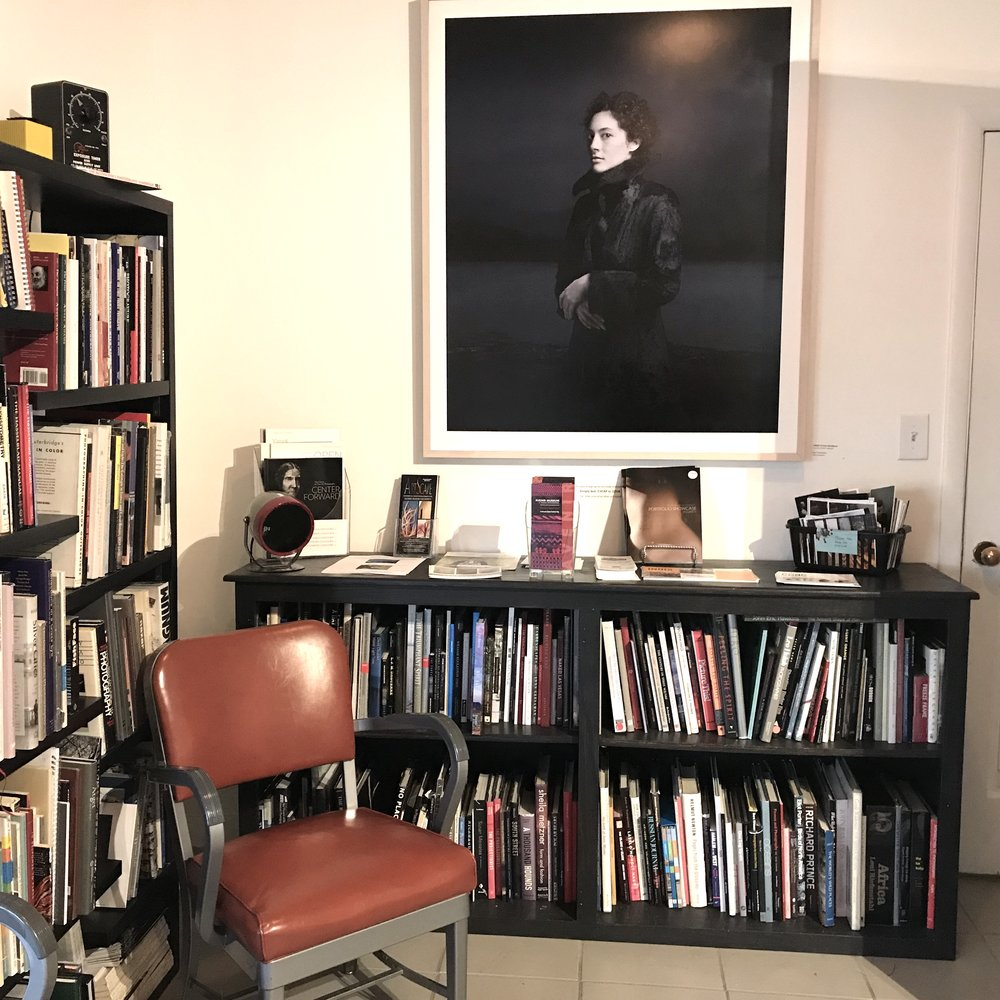 Bear Kirkpatrick's photograph presides over the photobook library at the  Center for Fine Art Photography