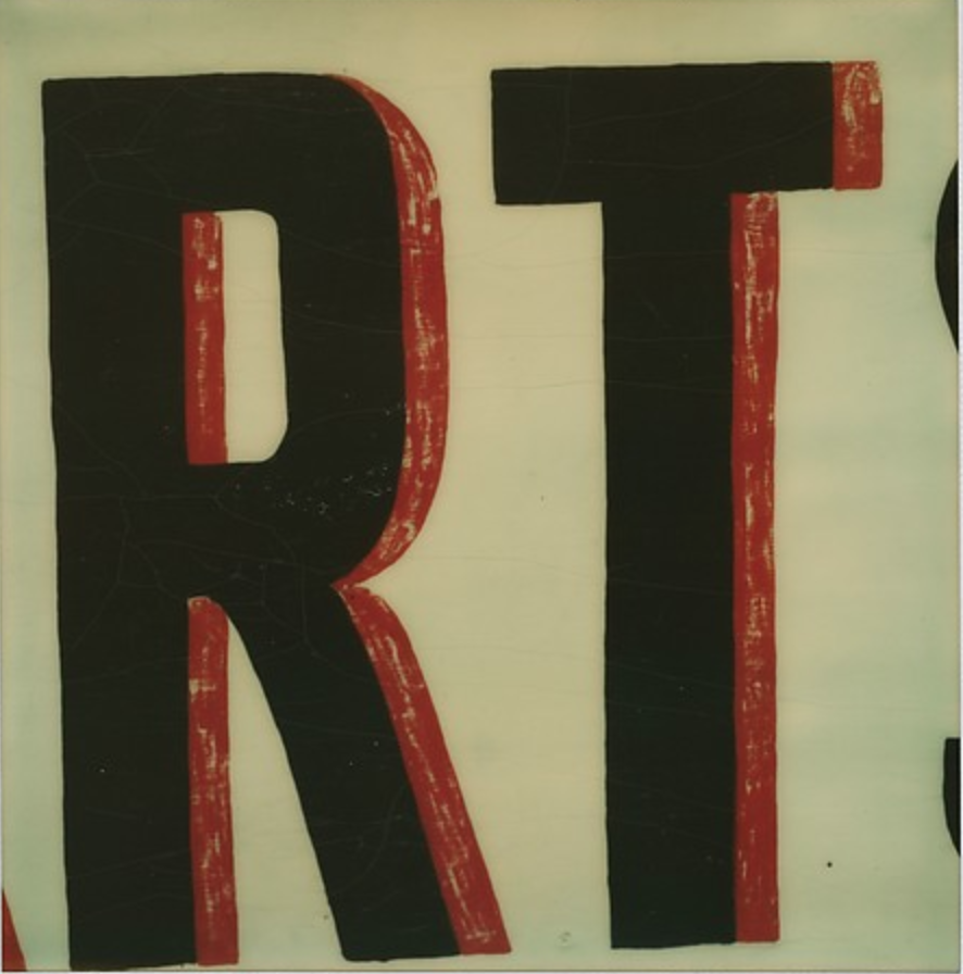 "Detail of Sign Lettering: ""RT"", 1974"