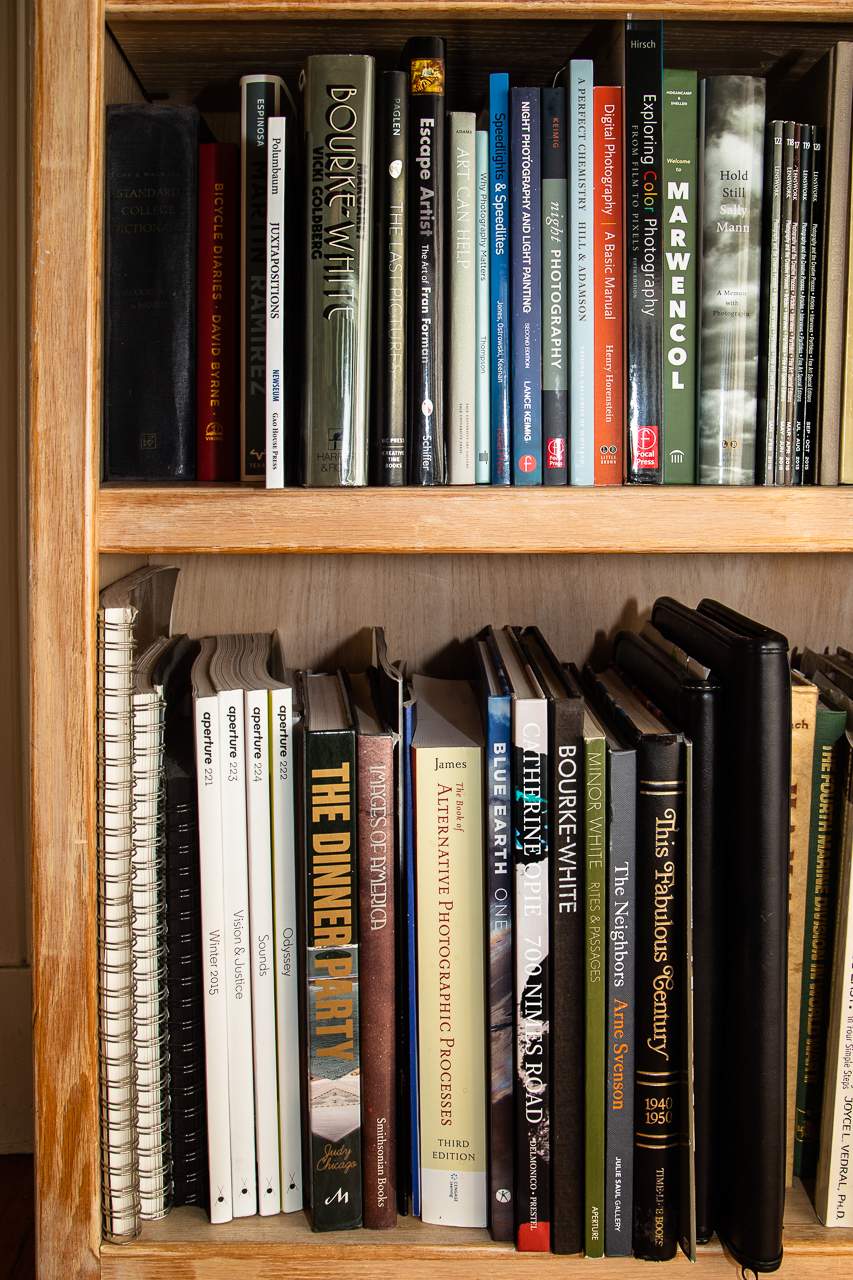 Diverse titles in Sally Chapman's photobook library.