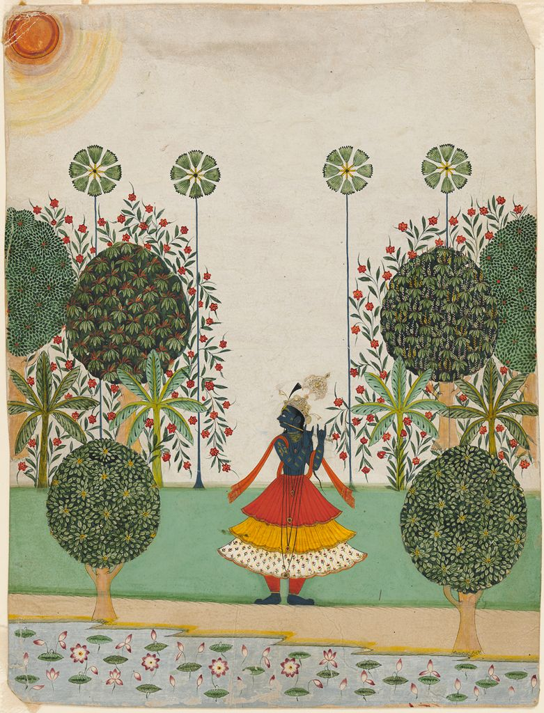 Krishna Fluting in the Forest, c. 1720-1740 Jaipur.  By anonymous. Collection of Harvard University Art Museum.