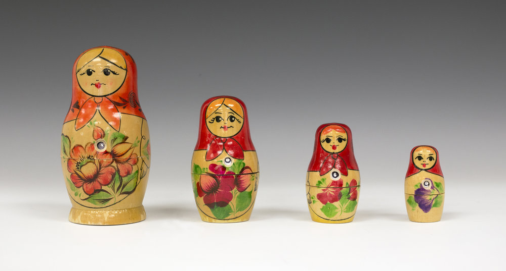 Russian nesting dolls as pinhole cameras.