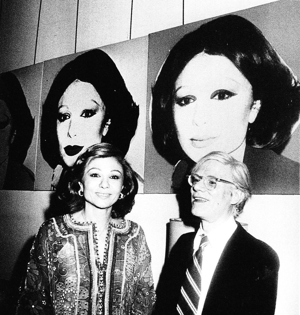 Farah Pahlavi and Andy Warhol in Tehran Museum of Contemporary Art, 1977 via Wikimedia Commons