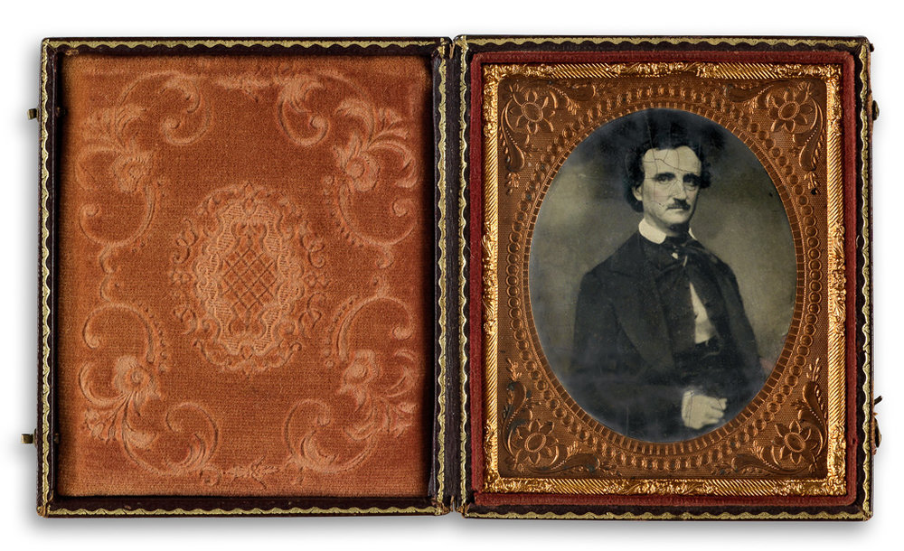 "Poe sat for many photographic portraits during his short life. This image is a tintype after the so-called ""Traylor daguerreotype"" named for legendary Poe collector Robert Lee Traylor, who once owned the image. The daguerreotype was made in 1849 by William A. Pratt in Richmond, Virginia, and the tintype was produced later."