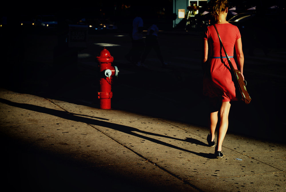 Lady in Red, Her Shadow and a Fire Hydrant
