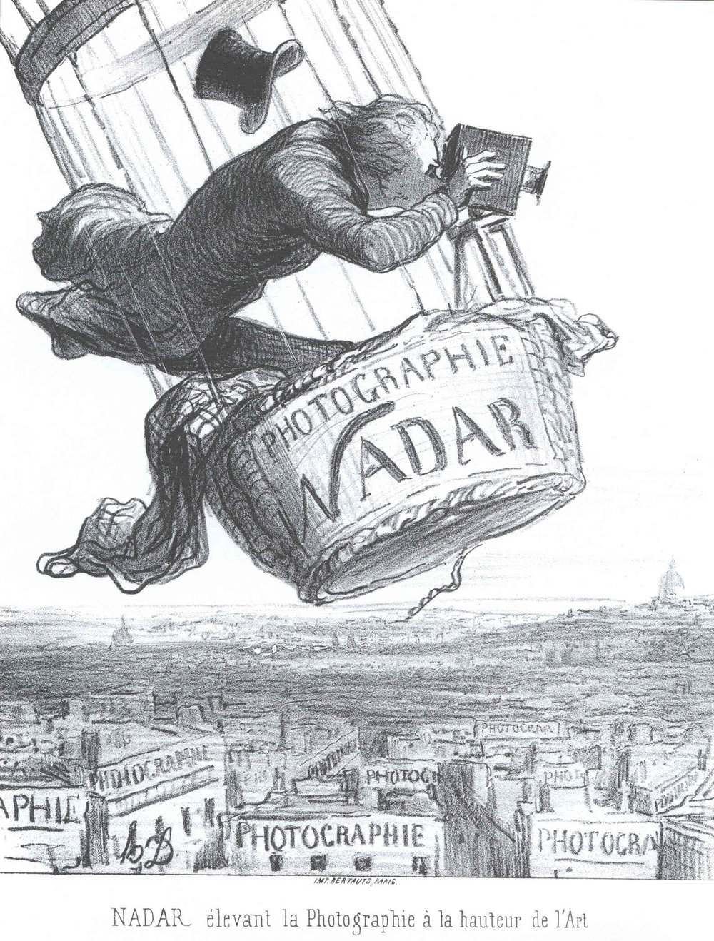 "This cartoon suggests that Nadar, famous for photographing Paris from a hot air balloon, would go to any lengths to ""elevate photography to a high art."""