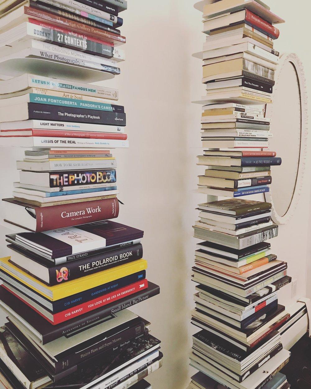 Kat's towering shelves.