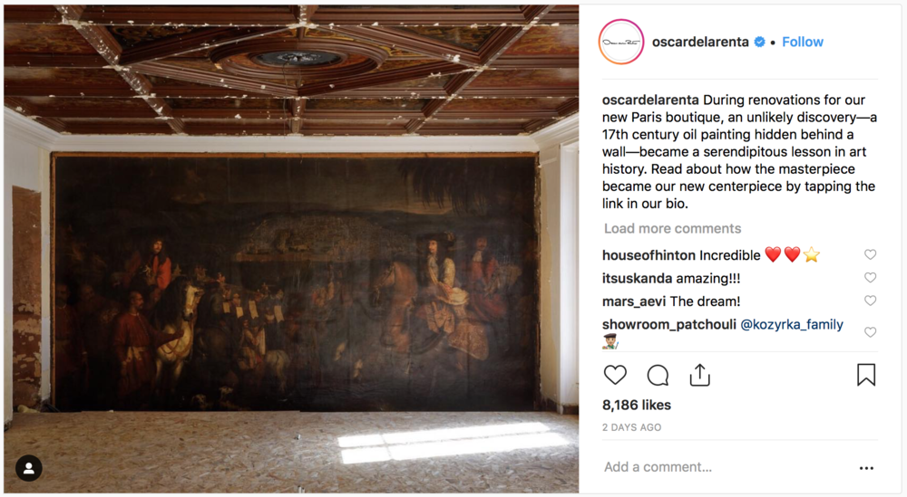 17th century painting found during renovations for Paris Oscar de la Renta store. Via  Instagram .