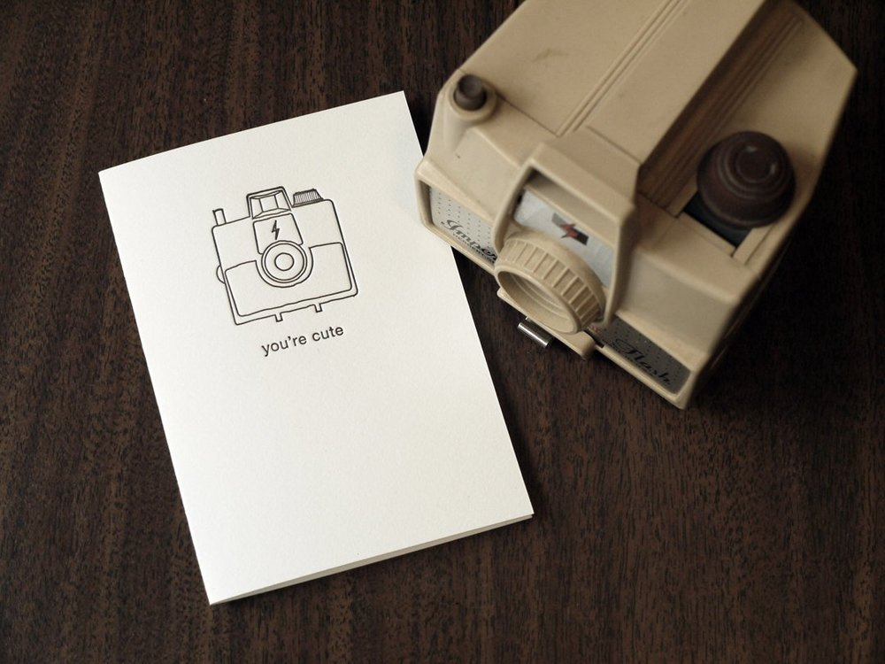 You're Cute letterpress card by  Print and Grain