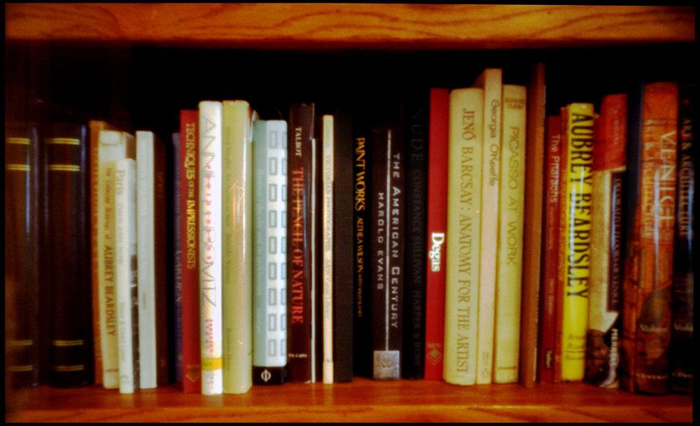 Nick Dvoracek's art books as seen through a pinhole camera.