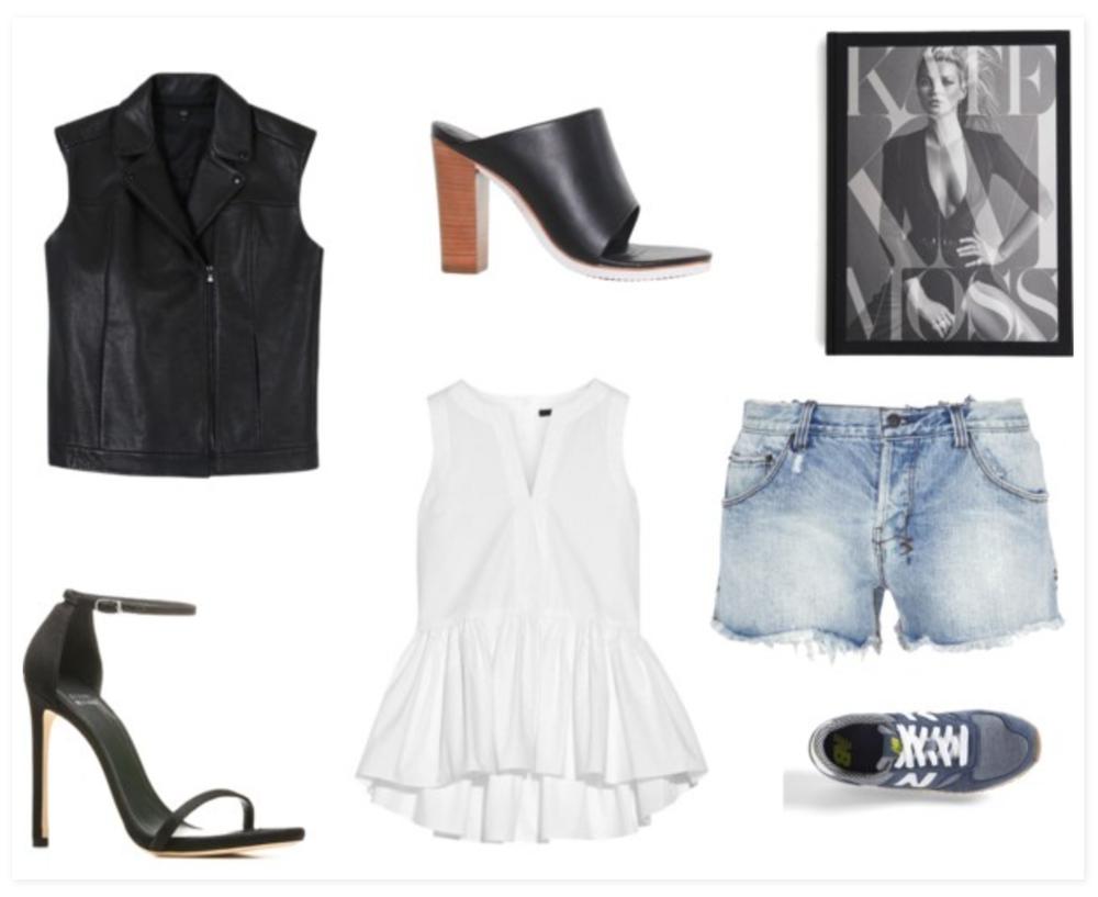 TIBI black leather vest,Ksubi blue jean shorts,Stuart weitzman sandals,Tibi shoes,New Balance gray shoes,Rebecca Taylor Kate: The Kate Moss Book