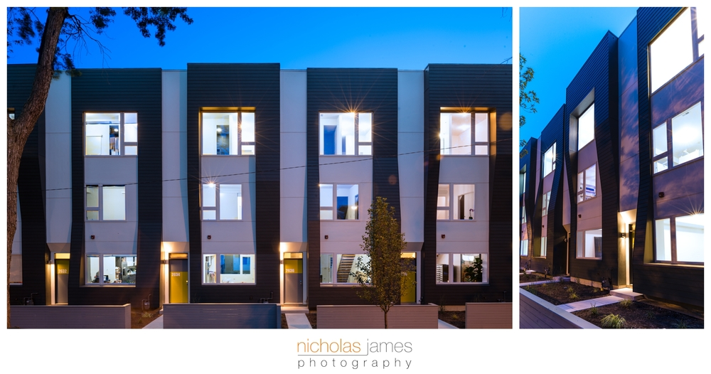 Flexhouse2 logan square modern row homes nicholas for Row house front elevation