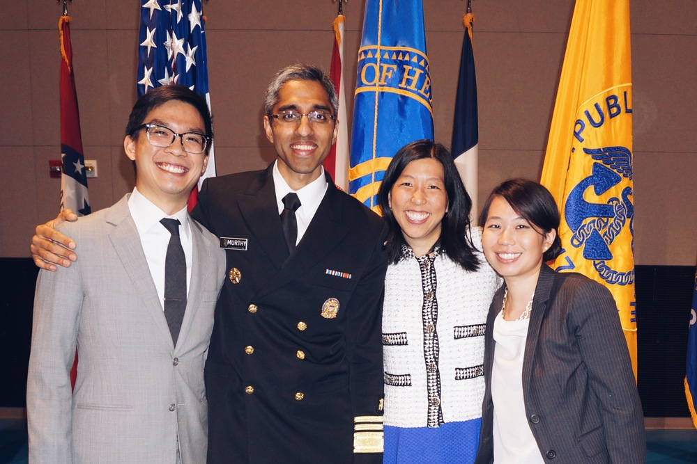 Center: U.S. Surgeon General Dr. Vivek Murthy, his fiancee and Doctors for America Executive Director Dr. Alice Chen. On Dr. Chen's left is Dr. Carol Duh-Leong, CHIL board member.