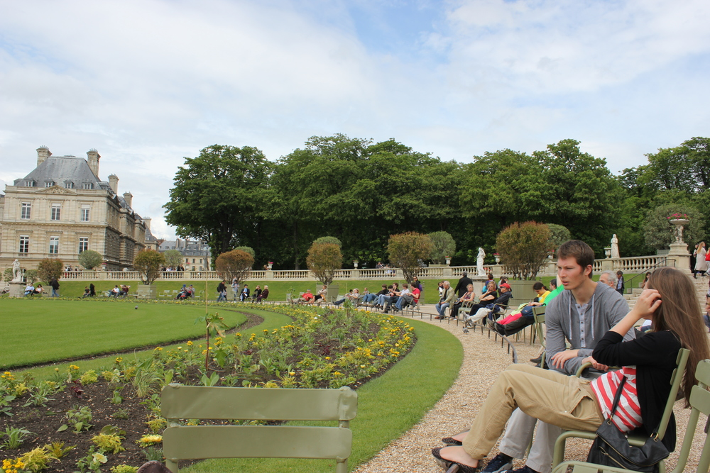 enjoying the sun while people watching in the Jardin des Tuileries :) - May 2012