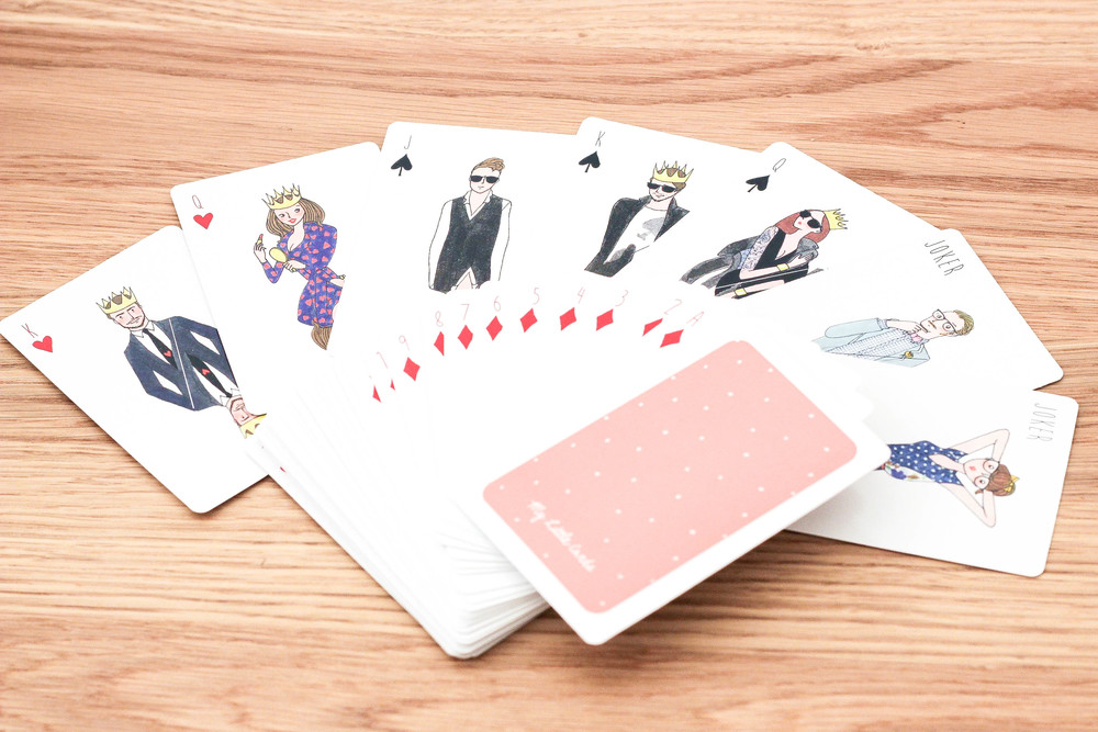 "A deck of ""My Little Cards"", beautifully illustrated likely by the famous Parisian illustrator Kanako."