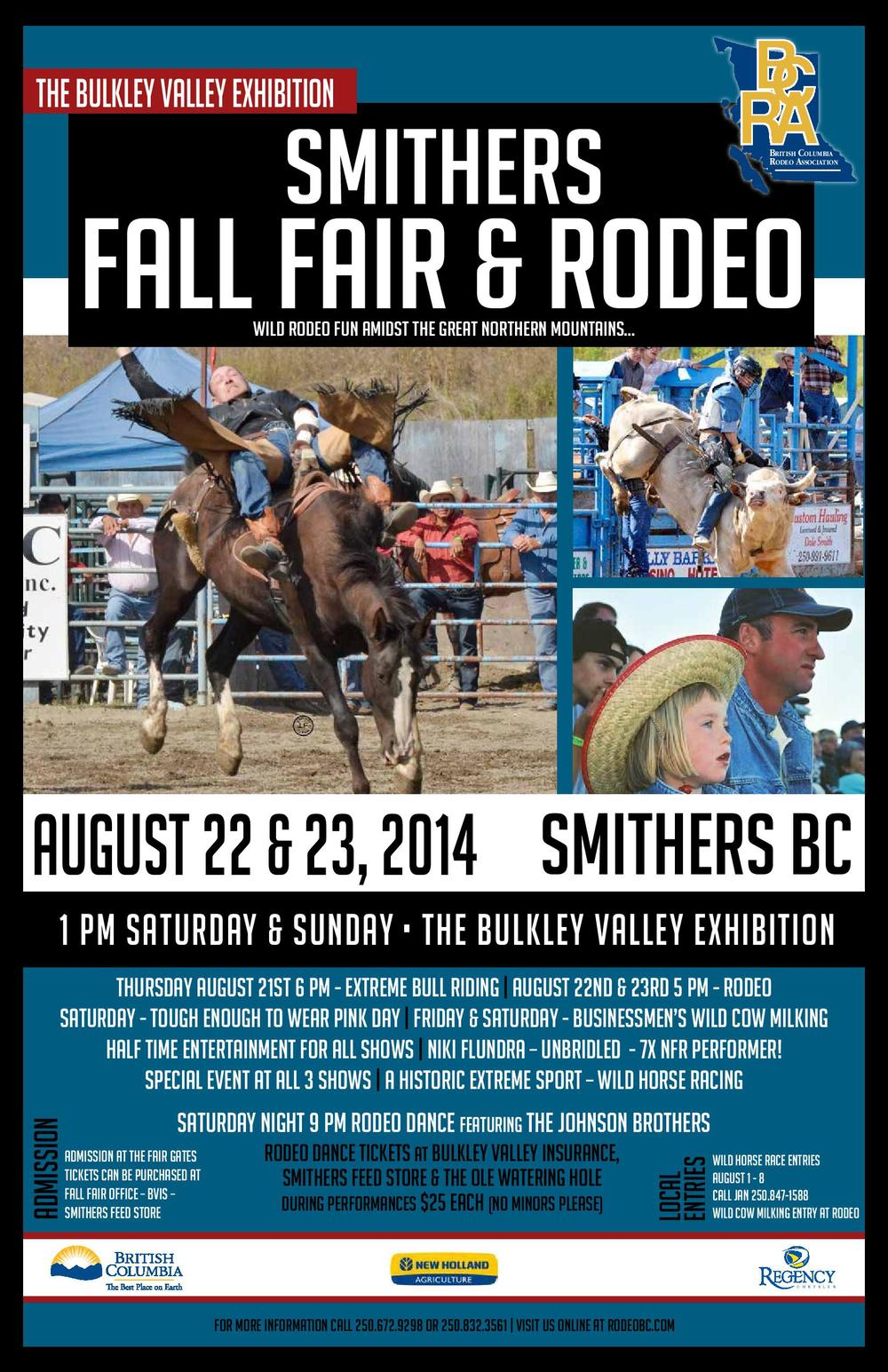 Official 2014  BCRA  Poster for the Smithers Rodeo at the 95th Bulkley Valley Exhibtion.