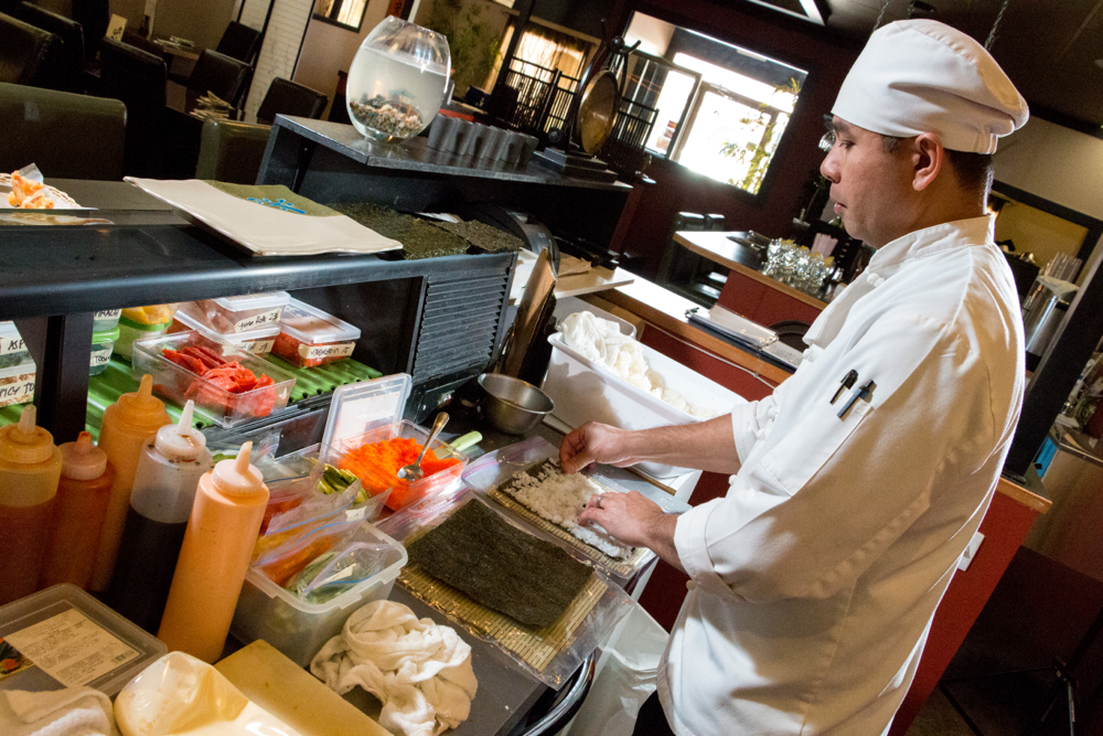 BFS's Chef Ramy preparing for the day ! PHOTO CREDIT : BLUE FIN SUSHI