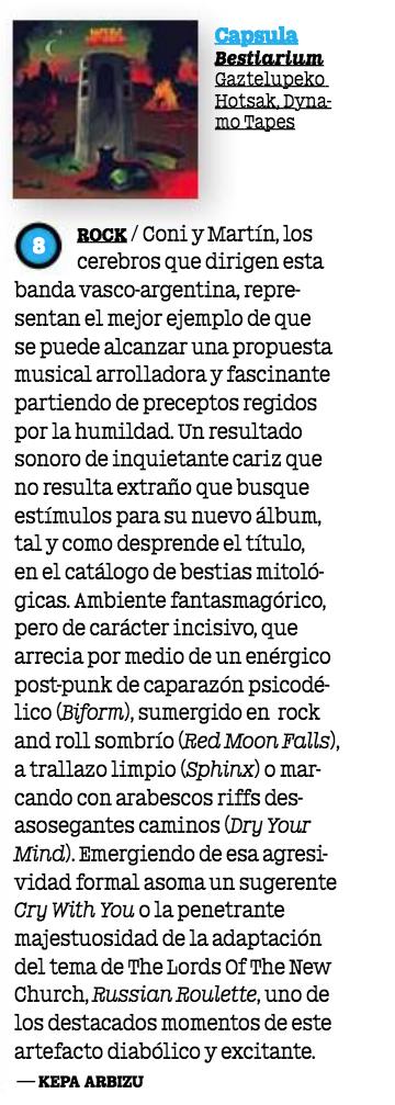 'Bestiarium' Mondosonoro Feb 2019