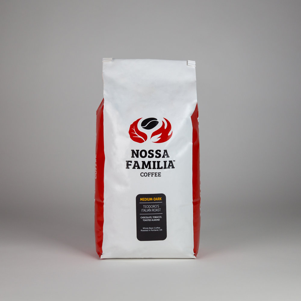 Nossa Familia Medium-Dark/Teodoro's Italian Roast Our Teodoro's Italian Roast is a rich and chocolatey base of Brazilian coffee, including a rich woody spice and hints of almond. Popularly used in our drip coffee. 12 oz. - $13 16 oz. - $17