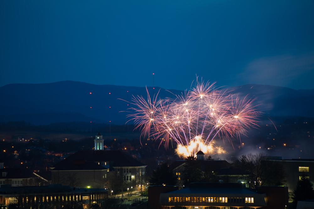 Fireworks over the Quad at James Madison University