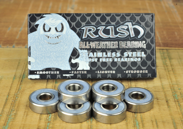 ALL-WEATHER  One of our most popular, long-lasting bearings. Stainless steel case and balls prevent rusting in wet or humid conditions. Nylon ball retainer and removable rubber shield for easy cleaning.