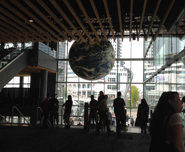 The main entrance to the Vancouver Convention Centre.