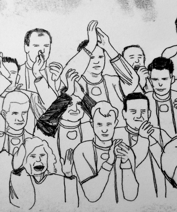Finished mono-print of a section of the crowd
