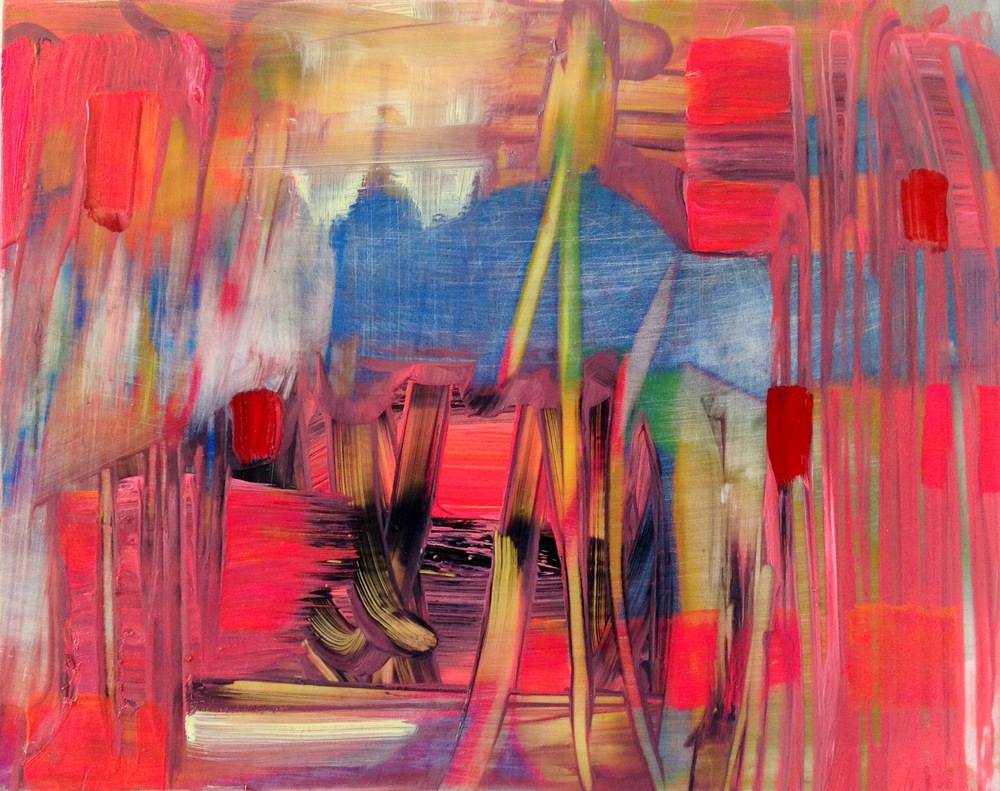 pink world 2 oil, digital print on panel, 8 in. x 10 in.