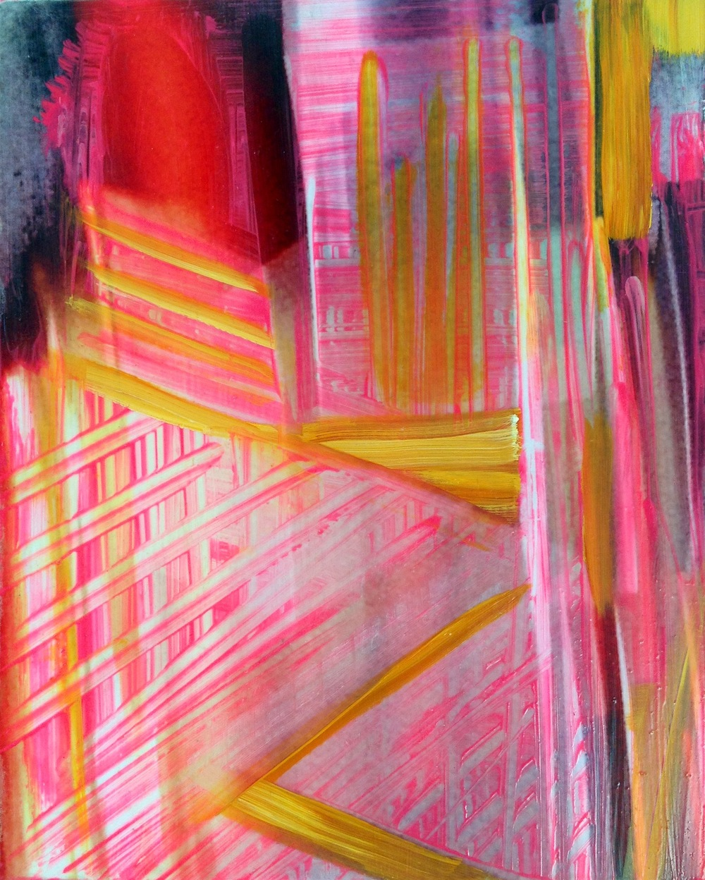 pink world   oil, digital print on panel, 10 in. x 8 in.