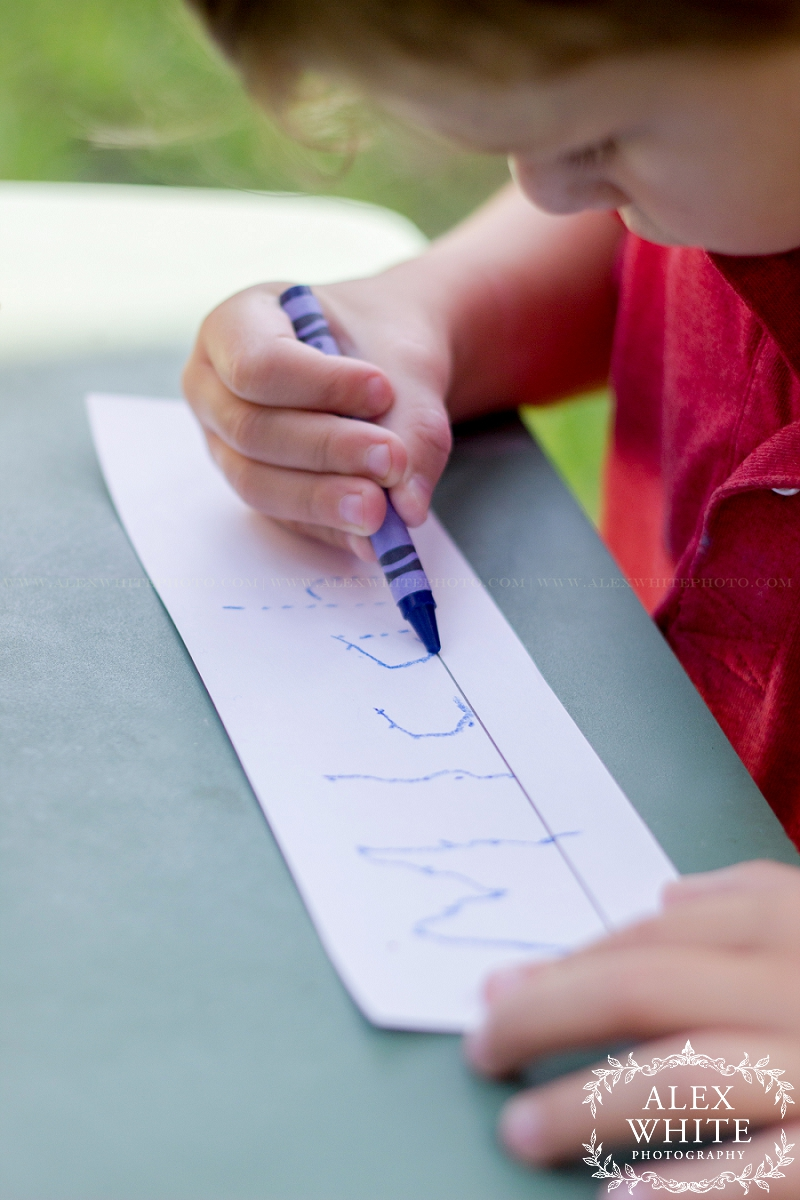 """Mom came up with the """"dots"""" idea so he can trace them and write his name. So sweet!"""