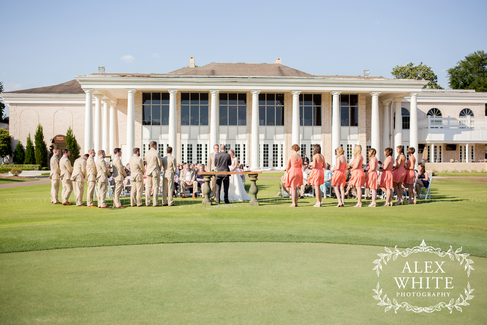 The wedding ceremony and wedding reception took place in The Sugar Creek Country Club in Sugar Land, TX. This was the perfect location for such a beautiful day.
