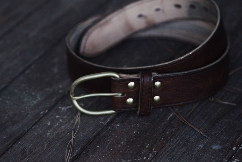 Hunted, buffalo belt with brass buckle - Ginew X Smithshop buckle