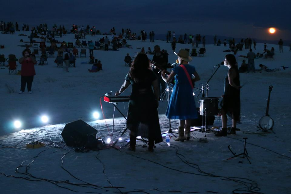 Dana Falconberry performing at White Sands National Monument, NM
