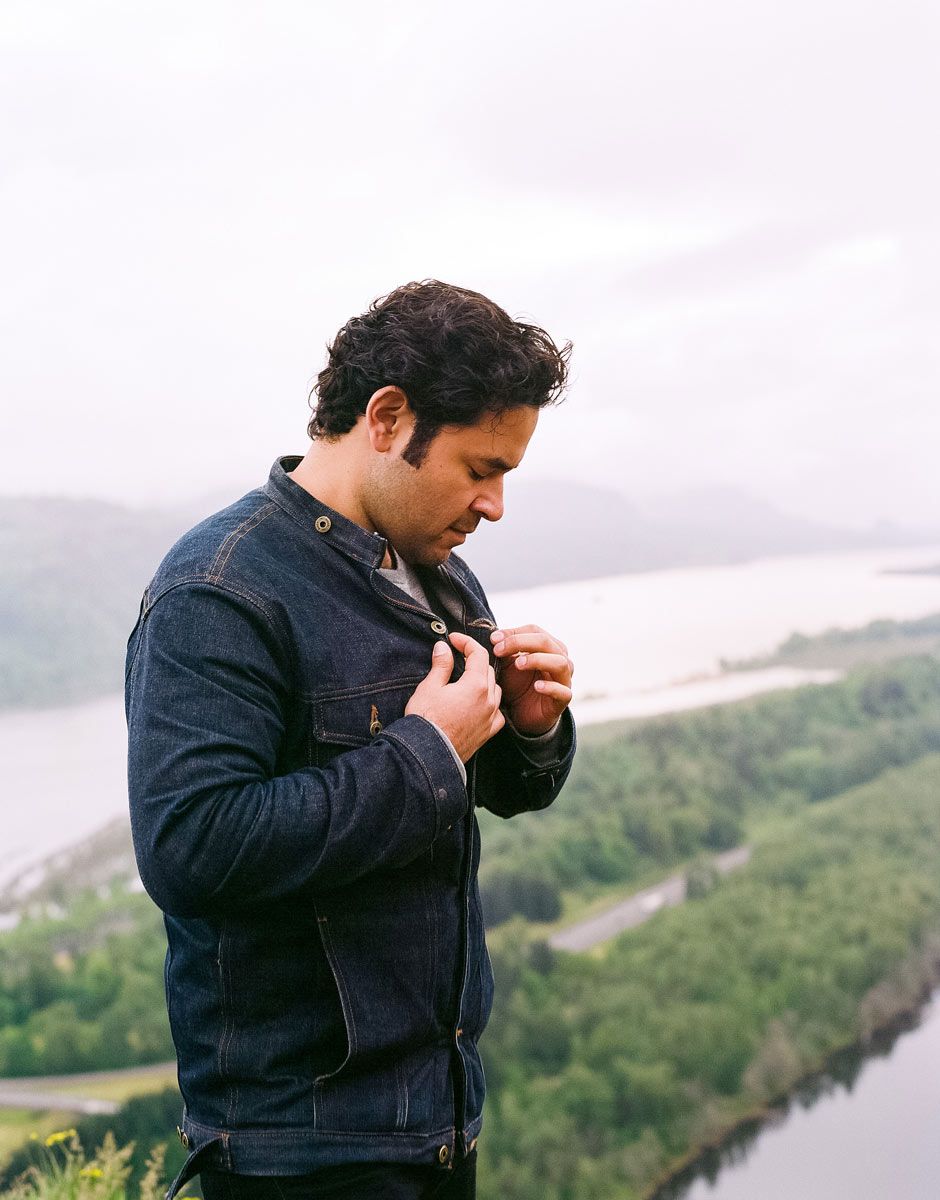 Selvedge Denim Rider Jacket atop the Columbia River Gorge
