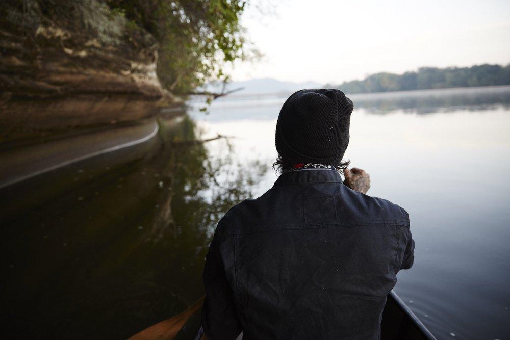 ginew-waxcanvasjacket-canoe-river