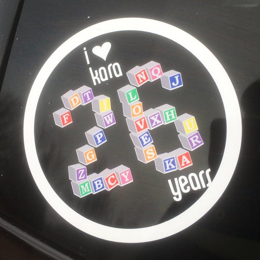 On REAR WINDOW of kara's car
